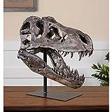 Zinc Decor Large Dinosaur Skull Sculpture T Rex Head Natural Looking Bone