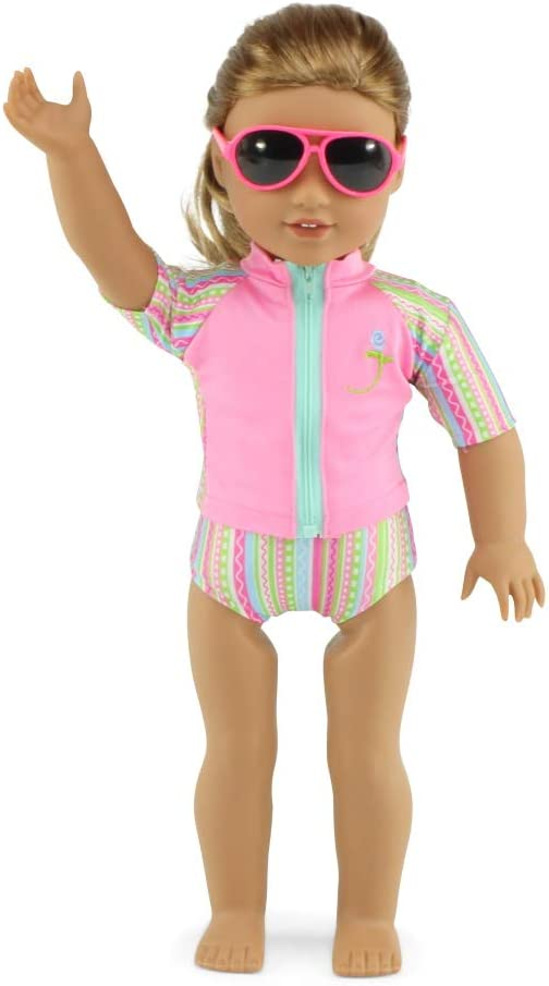 18 Doll 7 Piece Surf and Swim Doll Outfit Doll Clothes for Journey Girl Dolls Includes Sunglasses and Shoes Emily Rose 18 Inch Doll Clothes for My Life and American Girl Dolls
