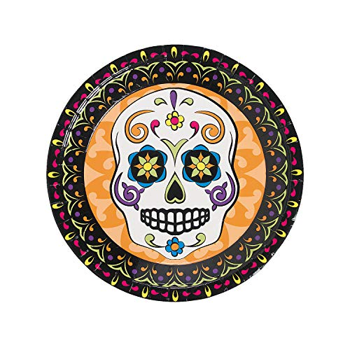 Fun Express - Day Of The Dead Dinner Plate (8pc) for Halloween - Party Supplies - Print Tableware - Print Plates & Bowls - Halloween - 8 Pieces (Dinnerware Dia Muertos De Los)