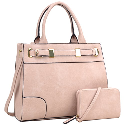 Dasein Women Classic Top Handle Satchel Handbag Briefcase Shoulder Bag Work Bag With Free Coin Purse (6716 Pink) (Pink Tote Classic)