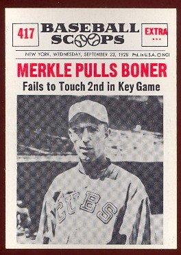1961 Nu-Card Regular (Baseball) card#417 merkle pulls boner of the Chicago Cubs Grade Very Good