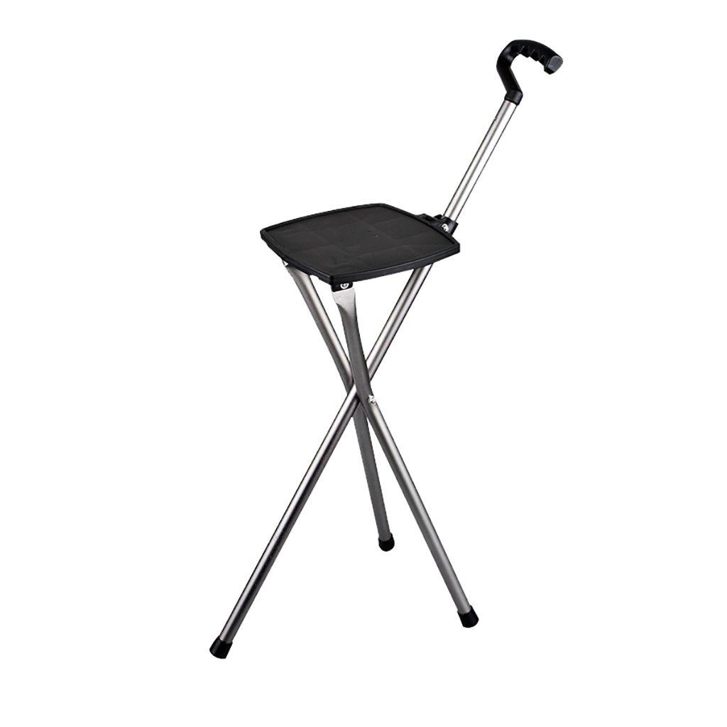 WENJUN プロフェッショナルLEDウォーキングケーンオールド紳士や女性のためのアルミ合金の杖ライト屋外の椅子松葉杖トレッキングポール滑り止め多機能折りたたみ杖 B07F2346D1