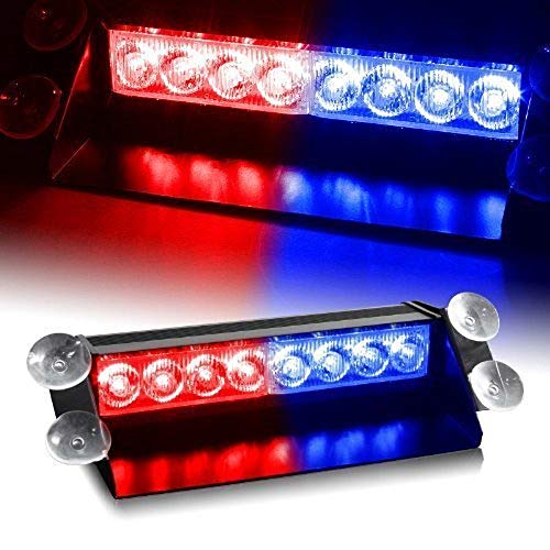 Car-Dec® Waterproof 8 LED Red Blue Police Flashing Light for All Cars 1 Pcs