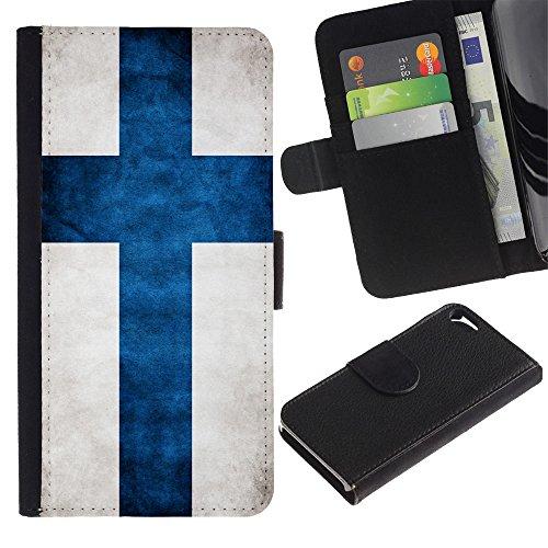 LASTONE PHONE CASE / Luxe Cuir Portefeuille Housse Fente pour Carte Coque Flip Étui de Protection pour Apple Iphone 5 / 5S / National Flag Nation Country Finland