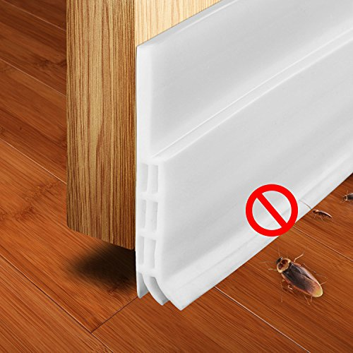 Exptool Under Door Sweep Weather Stripping, Dustproof and Soundproof, 2 Width x 39 Length (White)