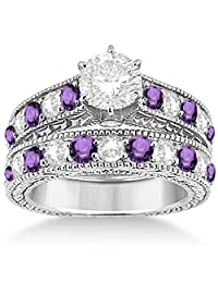 Antique Diamond and Amethyst Bridal Gemstone Wedding Ring Set Hypoallergenic Palladium (3.12ct)