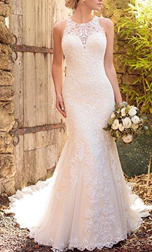 Brautkleider Hochzeitskleider Weiß Spitze Lang Meerjungfrau Hochzeitskleider Changjie Damen Prinzessin Zw4qYaW5x