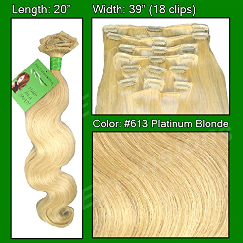 "Pro Extensions Body Wave 20"" x 39"" #613 Platinum Blonde 100% Real Human Hair Clip-in Extensions"