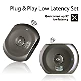 Avantree Pre-paired aptX LOW LATENCY Bluetooth Transmitter and Receiver for TV and Headphones/Speakers, Watching TV without DELAY - Saturn Pro Set