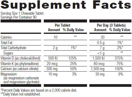 Bariatric Advantage - Calcium Citrate Chewable (500mg) - Chocolate, 90 Tablets