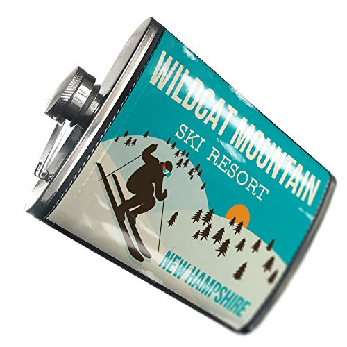 NEONBLOND Flask Wildcat Mountain Ski Resort - New Hampshire Ski Resort Hip Flask PU Leather Stainless Steel Wrapped (Ski Wildcat)