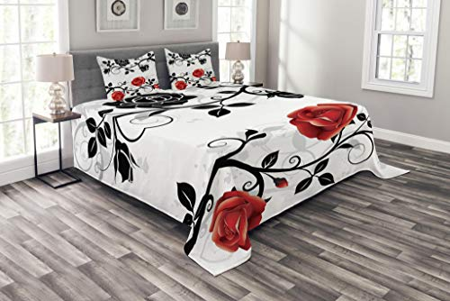 Lunarable Red and Black Bedspread Set Queen Size, Abstract Backdrop Floral Rose Swirls Ivy with Leaves Spring Image, Decorative Quilted 3 Piece Coverlet Set with 2 Pillow Shams, Pale Grey Vermilion
