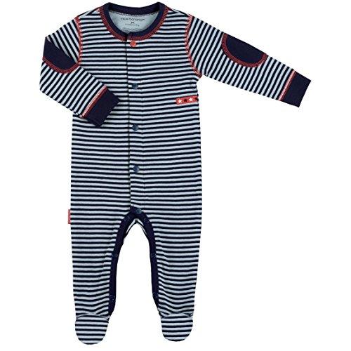 Kushies Rock-A-Bye Stripe Sleeper (Newborn, Navy - Cotton Kushies Sleeper