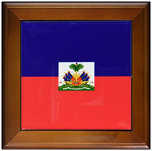 3dRose ft_158327_1 Flag of Haiti Dark Navy Blue and Red with Haitian Coat of Arms Caribbean Country World Souvenir Framed Tile, 8 by - Flag Country Haiti