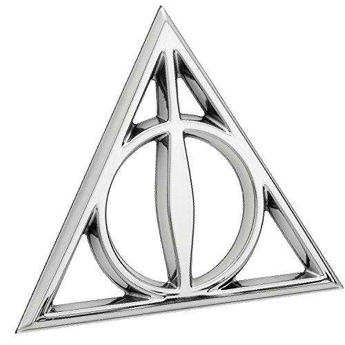Fan Emblems Deathly Hallows 3D Car Emblem Chrome, Harry Potter Automotive Sticker Decal Badge Flexes to Fully Adhere to Cars, Trucks, Motorcycles, Laptops, Windows, Almost Anything]()