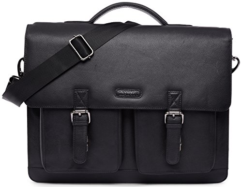 LEABAGS Miami genuine buffalo leather briefcase in vintage style - OnyxBlack by LEABAGS