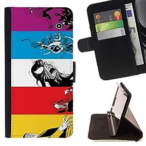 BullDog Case - FOR/Apple Iphone 5 / 5S / - / Superhero Combo Design /- Monedero de cuero de la PU Llevar cubierta de la caja con el ID Credit Card Slots Flip funda de cuer