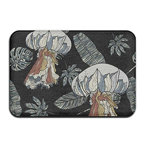 Feim-AO Psychedelic Jellyfish and Leaves Non Slip Machine-Washable Doormat Home Decor Rug Floor Mat 30(L) X 18(W) Inch