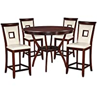 ACME Furniture 71609 Oswell 5 Piece Cream PU & Cherry Counter Height Set