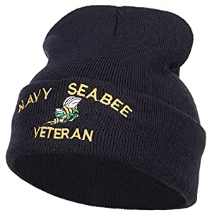 E4hats US Navy Seabee Veteran Military Embroidered Long Beanie