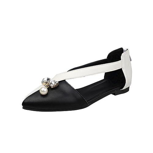 8584fe859439d Carolbar Women s Pointed Toe Assorted Colors Zip Bows-Shaped Rhinestones  Bead Dress Flats Shoes (