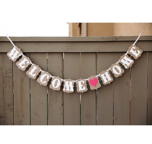 Elfun(TM) Vintage WELCOME HOME Banner for Home Decoration Family Party Supplies Photo Booth (Welcome Back Banner)