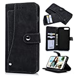 iPhone 7 Plus Case (5.5 inch) - Slim Fit Wallet Counterfeit Cashmere Leather Extra ID/Credit Card Holders with Snap Fastener Shock-absorption TPU Inner Cover by Badalink - Black