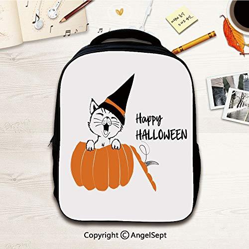 Preschool BackpackCute black cat in the orange pumpkin for happy Halloween,12.2