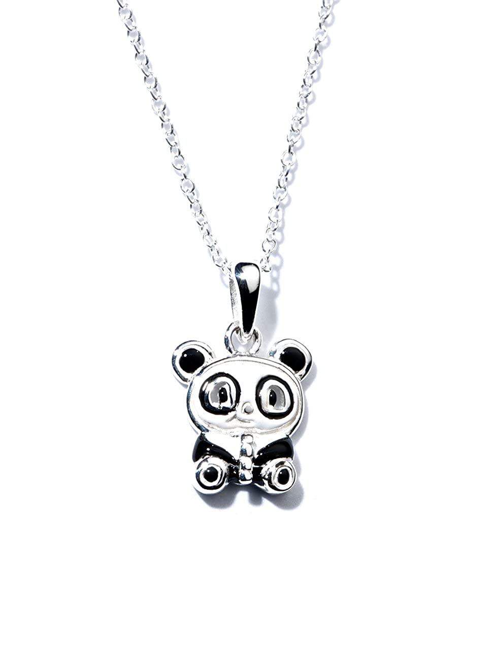 Jo for Girls Halskette Sterling-Silber mit Emaille-Panda-Anhä nger, 35,5  cm lang CP153