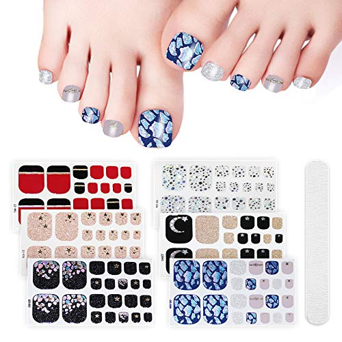 6 Sheets Full Toe Nail Wraps Art Polish Stickers Decal Strips Adhesive False Nail Design Manicure Set With 1Pc Nail Buffers Files For Women Girls