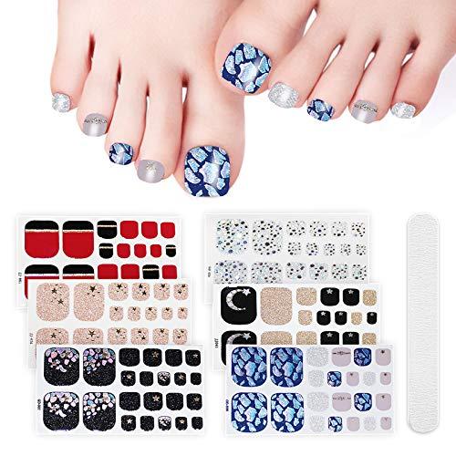 6 Sheets Full Toe Nail Wraps Art Polish Stickers Decal Strips Adhesive False Nail Design Manicure Set With 1Pc Nail Buffers FilesFor Women Girls