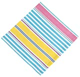 100% Cotton Blue & Yellow Striped 22''x22'' Napkins, Set of 12 - Italian Ice