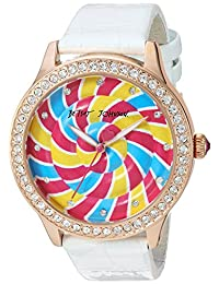 Betsey Johnson Women's Quartz Metal and Leather Casual Watch, Color:White (Model: BJ00517-64)