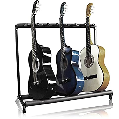 Acoustic Guitar Easy Storage Light Weight Guitar Stand 7 Holder Folding Stand Rack Band Stage Bass (1 8 Snare Lock)