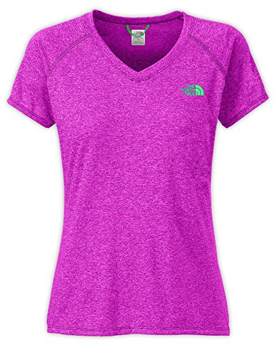 The North Face Women's Short-Sleeve Reaxion AMP V-Neck Tee Magic Magenta Heather/Surreal Green Large
