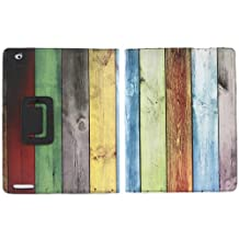 """iTALKonline PADWEAR WOODEN RAINBOW BLUE GREEN BROWN GREY Multi Function Multi Angle Luxury Executive Wallet Stand Cover Typing Case with Magnetic Sleep Wake Sensor Feature For Apple iPad 2 (2011) 2nd generation iPad 3 """"The New iPad Retina Display"""" (2012) 3rd Generation (Wi-Fi and Wi-Fi + 3G) 16GB 32GB 64GB"""
