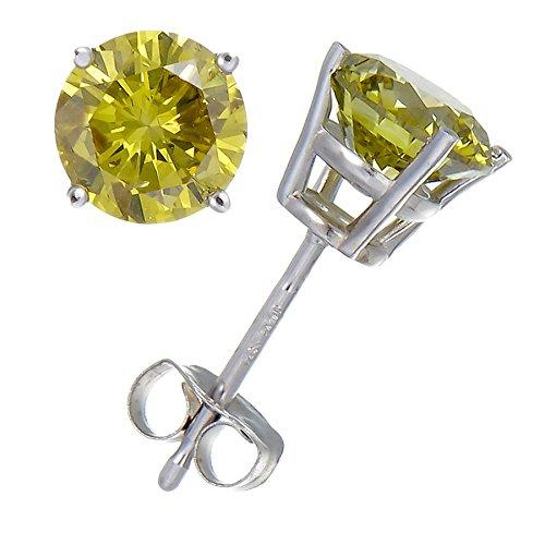 1/2 CT Yellow Diamond Stud Earrings 14k White Gold (I1-I2 Clarity)