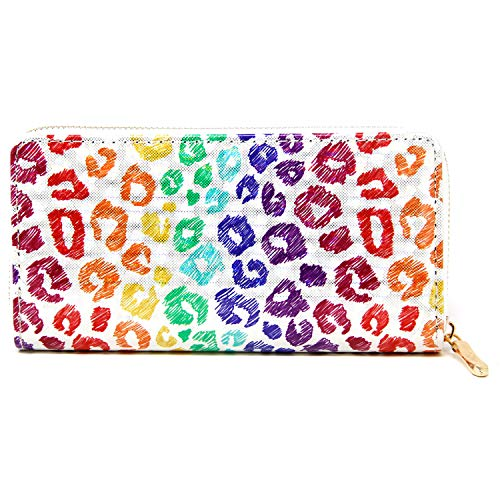 (MIRMARU Women's Holographic 3D Long Clutch Wallet Zipper Closure Card Slots Zippered Coin Pouch (191,MULTI ANIMAL PRINT))