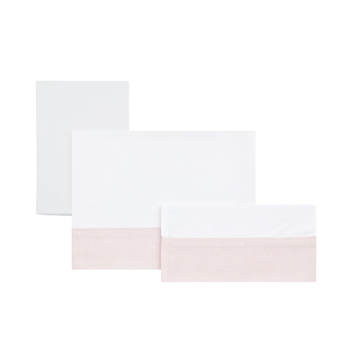 Cambrass Small Bed/Crib FlatSheet (80 x 120 cm, Star Pink, Set of 3) 35049.0