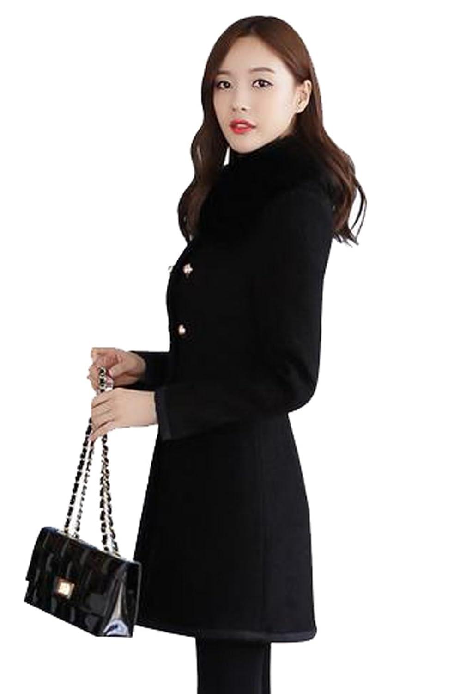 Honey GD Women's Elegant Fashion Woolen Parka Outwear Coat