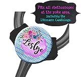 Yoke Stethoscope Tag - Chevron Blue Watercolor Floral - Steth ID Tag/Nurse ID/Littmann/Medical Gift/Student Nurse