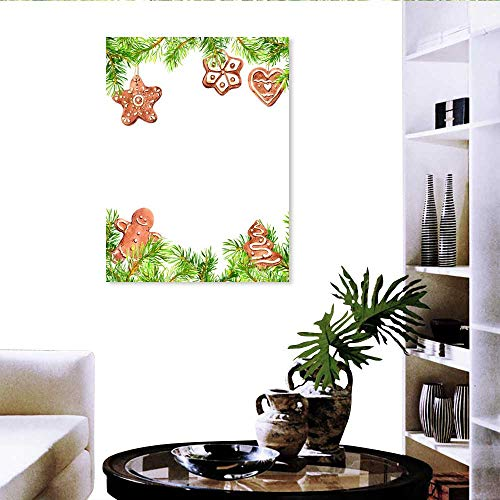 sunsunshine Fashion Stickers for Wall Christmas Cookies Ginger Bread Man Conifer Tree Branches Frame Christmas Card Empty Blank Watercolor 24