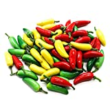 Buorsa 60pcs Simulation Artificial Lifelike Small Chili Fake Pepper Vegetable Hot Chili For Home KItchen Decoration