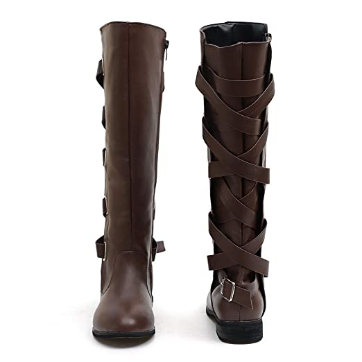 JiaMeng Zapatos Combat con Correa Moda Mujer Fashion, Zapatos con Hebillas Roman Riding Knee High Botas de Vaquero Long Boots: Amazon.es: Ropa y accesorios