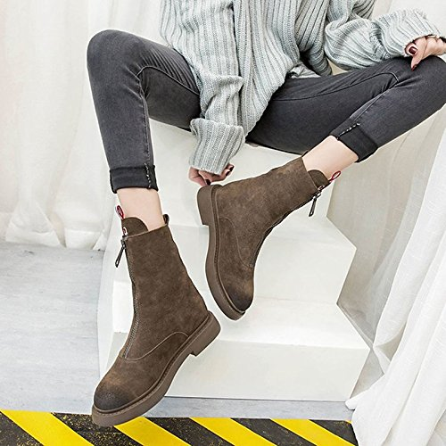 Round ZHZNVX Null Black Winter Toe Outdoor Shoes Women's Boots Boots PU Coffee Black Comfort Calf for Flat HSXZ Mid zIq0wnBrxz