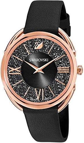Amazon Com Swarovski Crystal Authentic Crystalline Glam Watch Leather Strap Black Rose Gold Tone High Class Stone Studded Swiss Made Timepiece Jewelry And Everyday Accessory For Women Jewelry