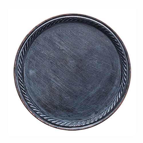 He Xiang Ya Shop Iron Flat Plate Home Breakfast Large Tray Fruit Cake Tray Water Cup Tray Black Dinner Plate 12 inches by He Xiang Ya Shop