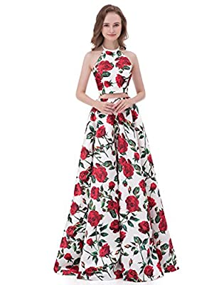 DarlingU Womens Floral Print Prom Evening Dress Halter Formal Party Gown 2018P11