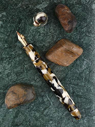 instrumento de escritura de buen equilibrio con estuche para bol/ígrafos borde dorado m/ármol marr/ón celuloide Moonman S3 Pluma estilogr/áfica de iridio punta fina