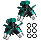 JDgoods 2Pcs Garden Y Hose Connector Hose Splitter Comfortable Easy Grip Rubberized